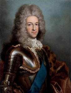 An oil portrait of the Prince James Stuart, in wig, lace, wearing shining armour, with a blue sash and rich fur cloak.