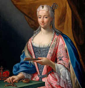 Oil painting portrait of Princess Clementina Sobieska, in powdered wig, and jewels.